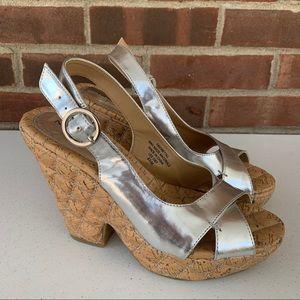 Nine West Favoretta3 silver platform sandals